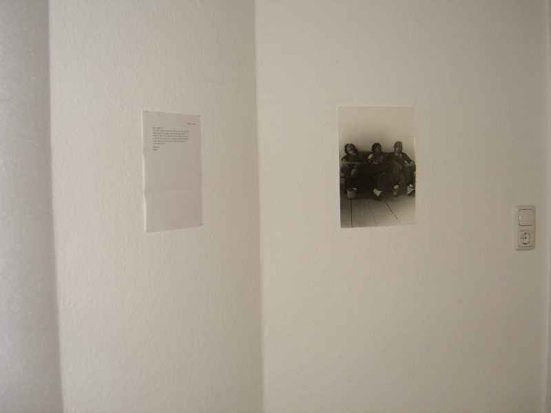 Home as a lived experience of a locality comes to mind. Tamara Henderson's intervention with the 'home' project space is documented with an unrefined yet mature print in black and white. The letter proficiently typed by Henderson on March 23, 2006 is a written request to borrow my sofa and arrived via Deutsche Post to Jungstr. 18.