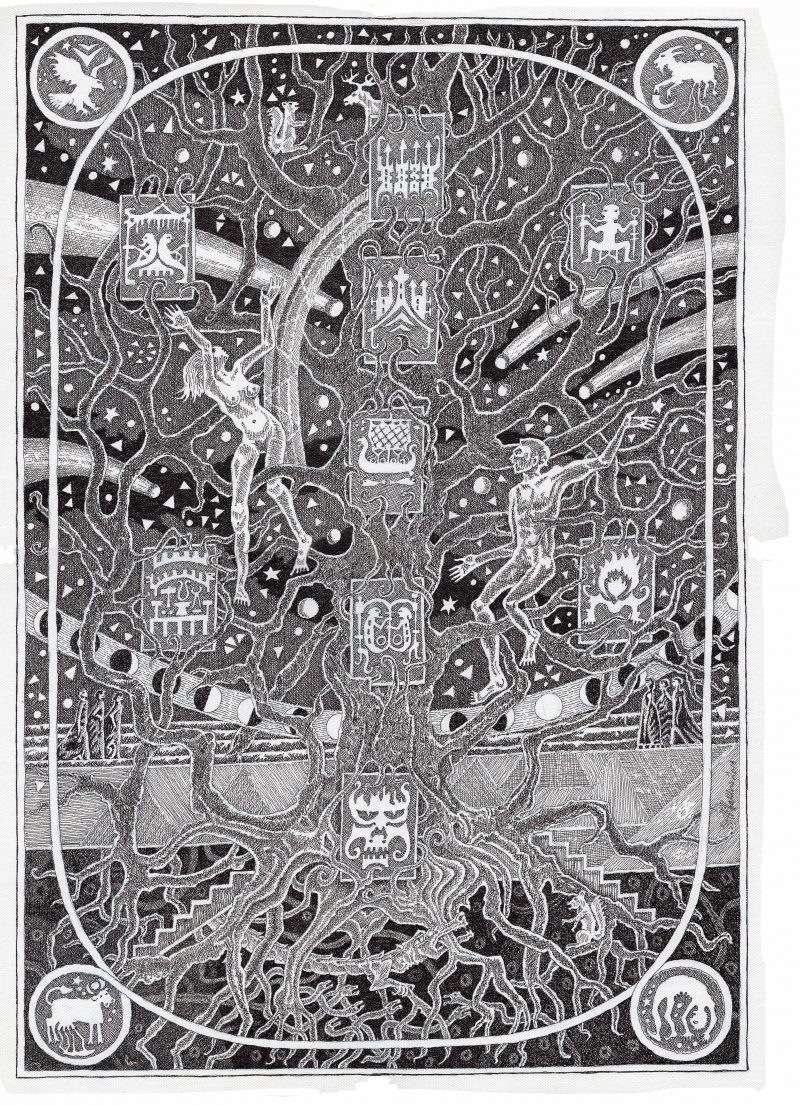 Haukur Hallsdórsson, Yggdrasil, 42 x 30 cm, Pen on canvas
