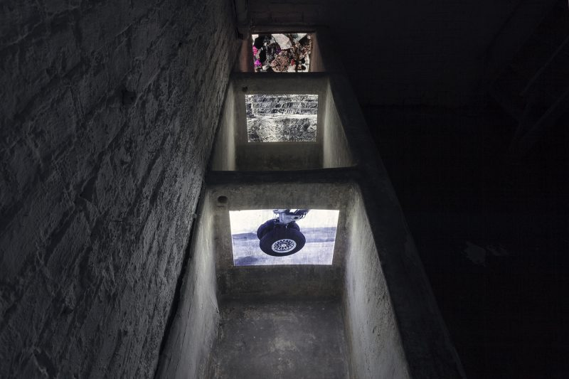 Emilija Škarnulytė<br /> Hollow Earth, 2013<br /> 22 min, 3 channel HD video, together with T. Busse<br /> Installation view from MANIFOLD, solo exhibition at Decad, Berlin <br /> Courtesy the artist and Decad<br /> Photography by Julija Goyd © 2017