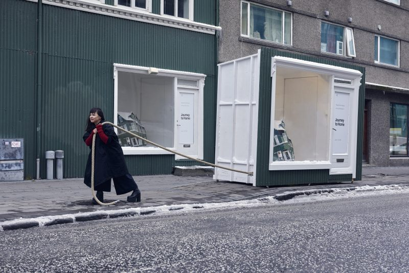 """Wind and Weather Window Gallery and Dragsúgur, the mobile window. Performances at Bernhöftstorfan:<br /> 15 June, 3:00 pm: Erin Honeycutt, """"Windows Open"""